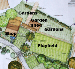 Shop, Garden Shed, Gardens and Playfield